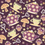 Plum Apricot Seamless Pattern Set